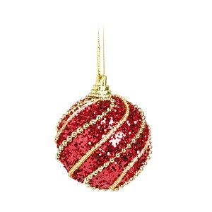 Caixa c/ 6 Bolas Natalinas Vermelhas de Glitter Dourado