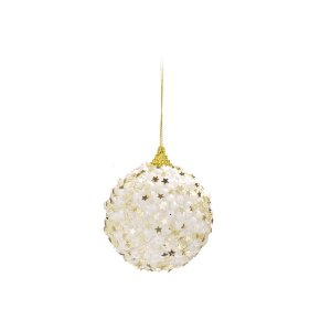 Caixa c/ 4 Bolas Natalinas Estrelas Douradas