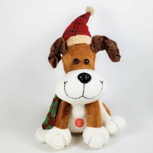 Cachorro Natalino c/ Som e Movimento - 30cm