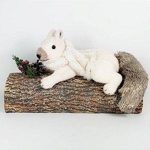 Esquilo Branco no Tronco - 36cmx22cm
