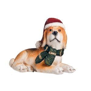 Cachorro de Resina Deitado - 8cmx10cmx4cm