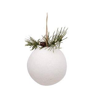 Bola Natalina Branca Peluciada com Verdes - 10cm