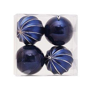 Bolas Natalinas Dark Blue Caixa com 4 unid. - 10cm