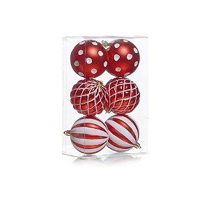 Caixa com 6 Bolas Natalinas Vermelhas Diversas - 8cm