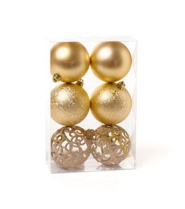 Bola de Natal Dourada Fosca e Texturizada com 6 Unid. - 8cm