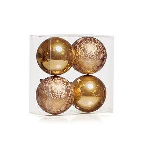 Bolas Natalinas Douradas com 4 Unid. - 10cm