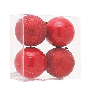 Bolas Natalinas Vermelha com 4 Unid. - 12cm
