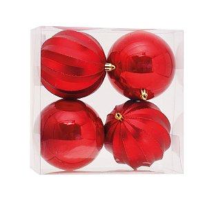 Bola de Natal Vermelha Lisa/Goma com 4 Unid. - 10cm