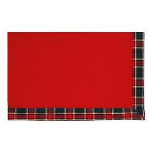 Toalha de Mesa Vermelha com Borda Xadrez - 160cmx270cm