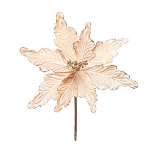 Poinsettia Natalina de Veludo Nude com Glitter Dourado - 40cmx28cm