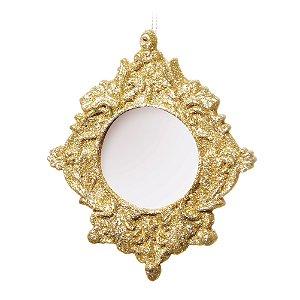Porta Retrato com Glitter Dourado - 12cm