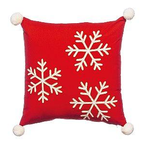 Capa Para Almofada Vermelha com Flocos de Neve - 45cmx45cm