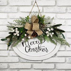 Placa Provençal Branca Merry Christmas - 36cmx27cm
