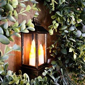 Lanterna com 3 Velas a Pilha - 12,5cm