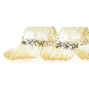 Fita Aramada Dourada de Glitter - 9m