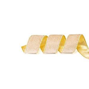 Fita Aramada Bege com Dourado Peluciado - 9m