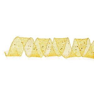 Fita Aramada Telada Dourada com Glitter - 9m