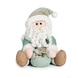 Papai Noel Neo Mint Sentado - 25cm