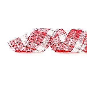 Fita Aramada Xadrez Vermelho e Branco - 9m