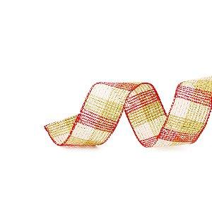 Fita Aramada Xadrez Verde Vermelho e Branco - 9mx3,8cm