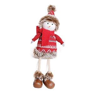 Boneco de Neve Decorativo Sentado - 19cm