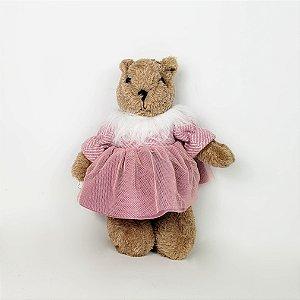 Ursa de Pelúcia Rosa Azálea - 22cm