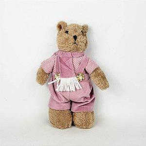 Urso de Pelúcia Rosa Azálea - 22cm