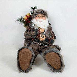 Papai Noel Lenhador Sentado - 45cm
