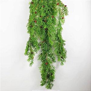 Galho de Pendente Verde com Berries - 70cm