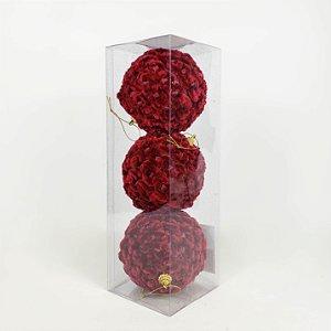 Caixa com 3 Bolas Natalinas de Veludo Bordô - 10cm