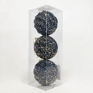 Caixa com 3 Bolas Natalinas Dark Blue de Relove e Gotas Douradas - 10cm
