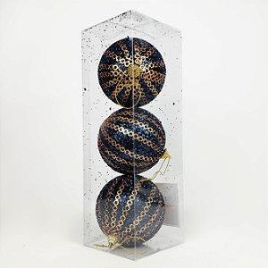 Caixa com 3 Bolas Natalinas Dark Blue Decoradas - 10cm