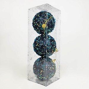 Caixa com 3 Bolas Natalinas Dark Blue Lantejoulas - 10cm