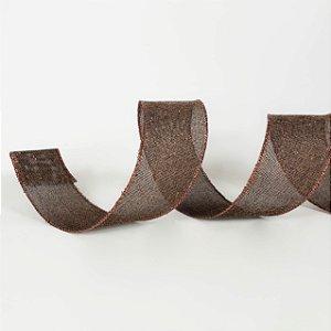 Fita Aramada Chocolate com Glitter - 9m