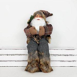 Papai Noel Lenhador Sentado - 30cm