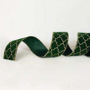 Fita Aramada Verde com Dourado - 9m