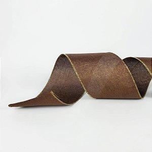 Fita Aramada Marrom com Glitter Dourado - 9m
