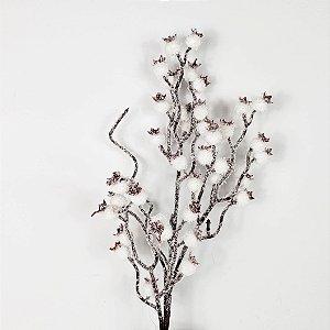 Galho Nevado de Berries Brancos - 40cm