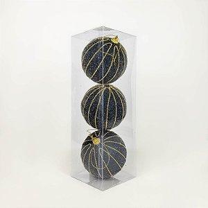 Caixa com 3 Bolas Natalinas Dark Blue e Dourado - 10cm