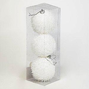 Caixa c/ 3 Bolas Natalinas Brancas Com Textura e Glitter - 10cm