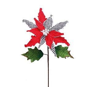 Poinsettia Natalina Vermelho e Xadrez com Folhas - 55cm