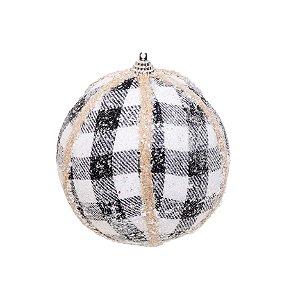 Bola de Natal Xadrez Preto e Branco com Glitter - 12cm