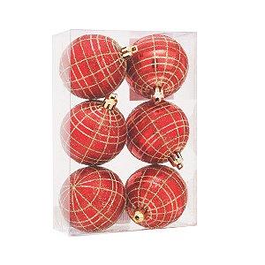 Caixa com Bolas Natalinas com 6 unid. Vermelho e Dourado - 6cm