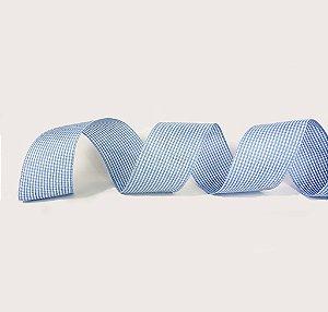 Fita de Tecido Aramada - Xadrez Azul Claro