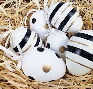 Enfeite de Páscoa - Ovos  Preto / Dourado