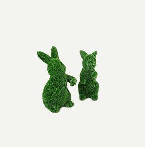 Duo de Coelhos em Resina - Verde