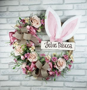 Guirlanda de Páscoa- Feliz Páscoa Orelhas/Rosa