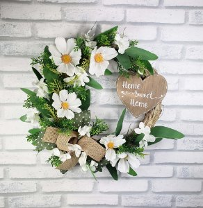 Guirlanda de flores - Home Sweet home/Branca