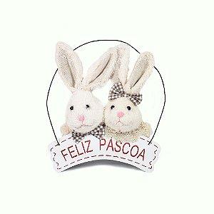 Placa Feliz Páscoa - Coelhos