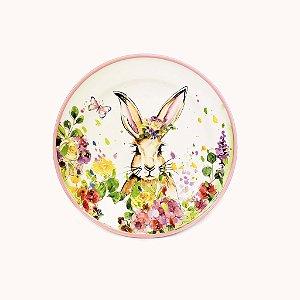 Prato de Cerâmica - Coelho/Rosa Flores